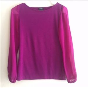 Ann Taylor Pink Sweater with chiffon sleeves XSP